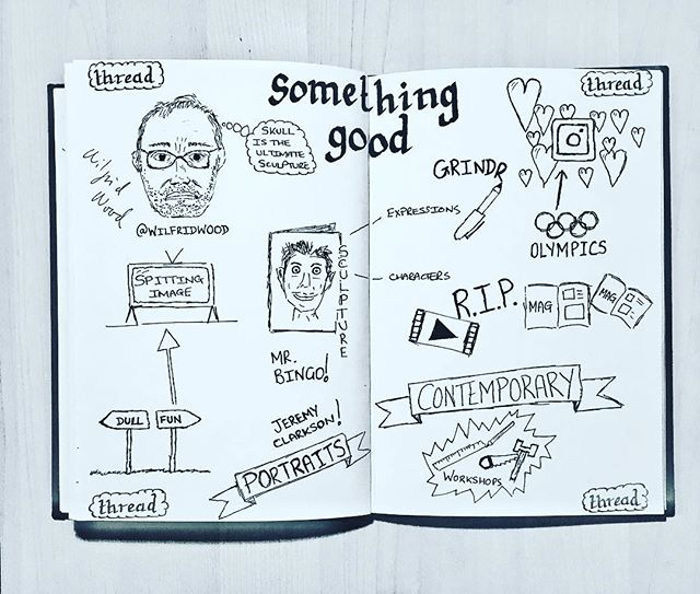 Sketchnote 1 of 6 @wilfridwoodsculptor awesome talk from Friday. Fascinating insight into the guy behind Spitting Image and more. Does a great workshop too! Thanks for signing