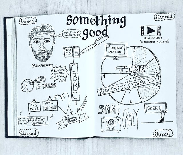 Sketchnote 2 of 6 >If you are in need of inspiration and a feel good factor Gavin Strange IS. THE. MAN. @jamfactory I recommend everyone getting themselves a time circle. Thanks Gavin for the message on the bottom left and great to chat with you! Top Creative!<