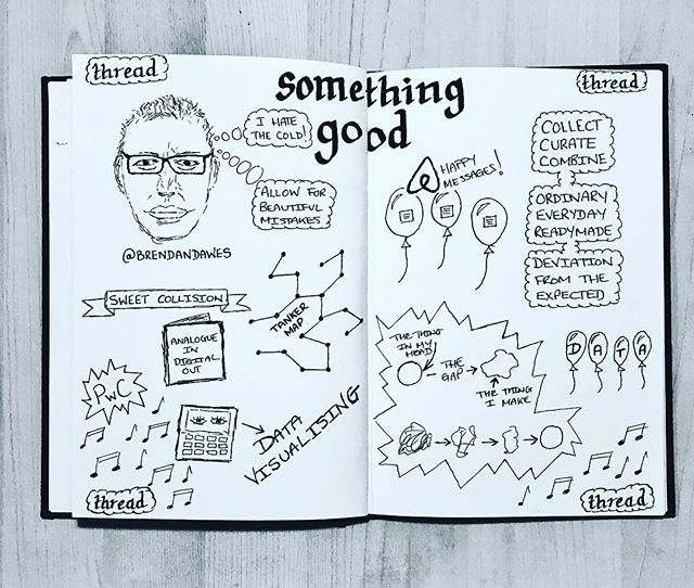 Sketchnote 4 of 6 > @brendandawes gave a super interesting talk on Data Visualisation, deviating from the expected and not liking the cold! Really engaging and interesting approach to his work< @threadbristol
