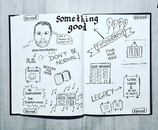 Sketchnote 6 of 6 > Awesome talk by @anthonyburrill a.k.a Mr TypeFace - his work is bloody great. Thanks for signing the Sketchnote too! <