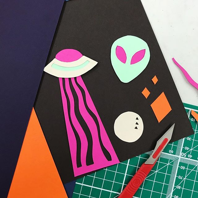 Went to a paper cutting workshop today. Did an alien scene, naturally